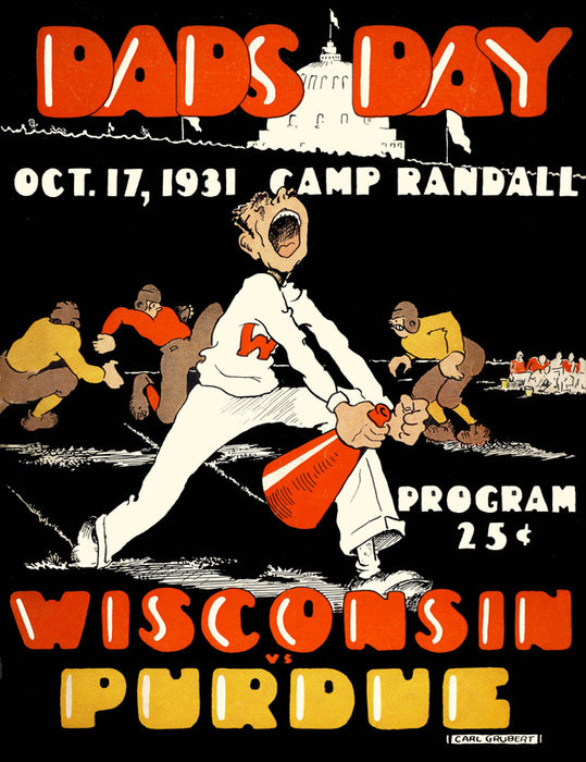 1931 Wisconsin Badgers vs Purdue Boilermakers 22x30 Canvas Historic Football Poster