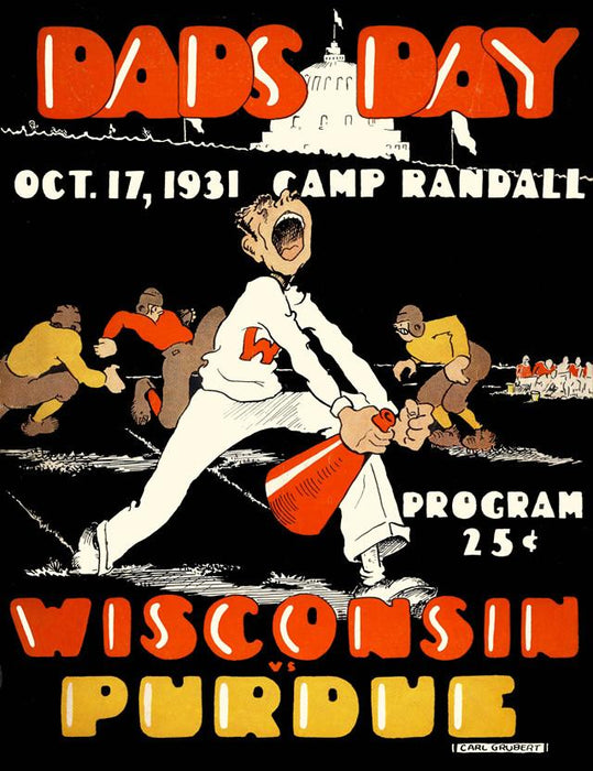 1931 Wisconsin Badgers vs Purdue Boilermakers 30x40 Canvas Historic Football Poster