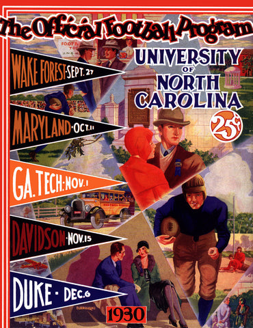 1930 North Carolina Tar Heels Season Schedule 22x30 Canvas Historic Football Poster