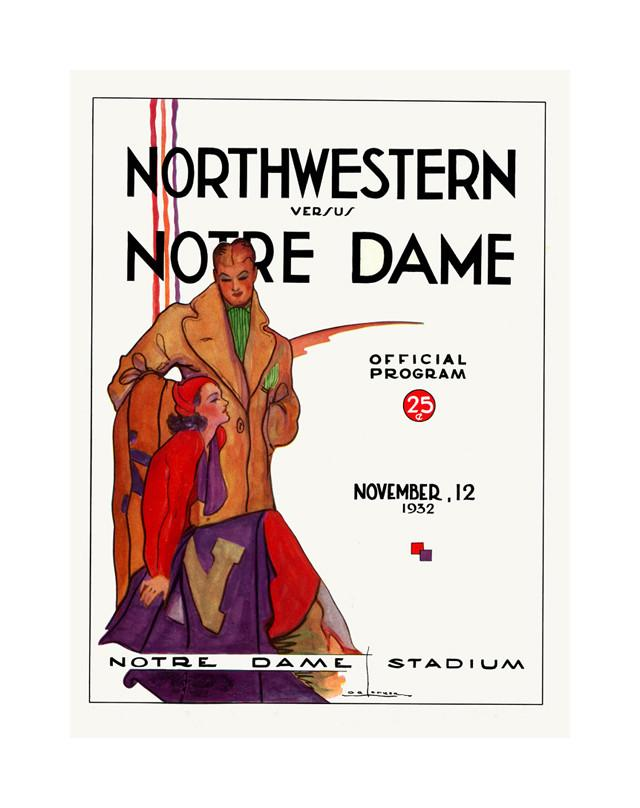 1932 Notre Dame Fighting Irish vs Northwestern Wildcats 30x40 Canvas Historic Football Poster