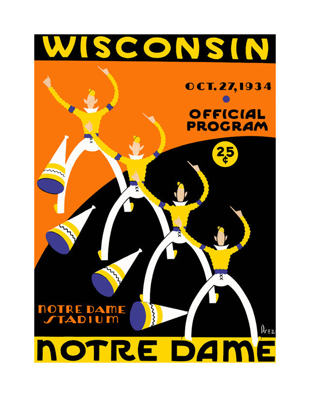 1934 Notre Dame Fighting Irish vs Wisconsin Badgers 22x30 Canvas Historic Football Poster