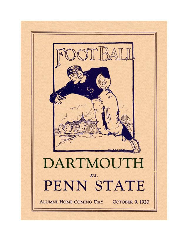 1920 Penn State Nittany Lions vs Dartmouth Big Green 30x40 Canvas Historic Football Poster