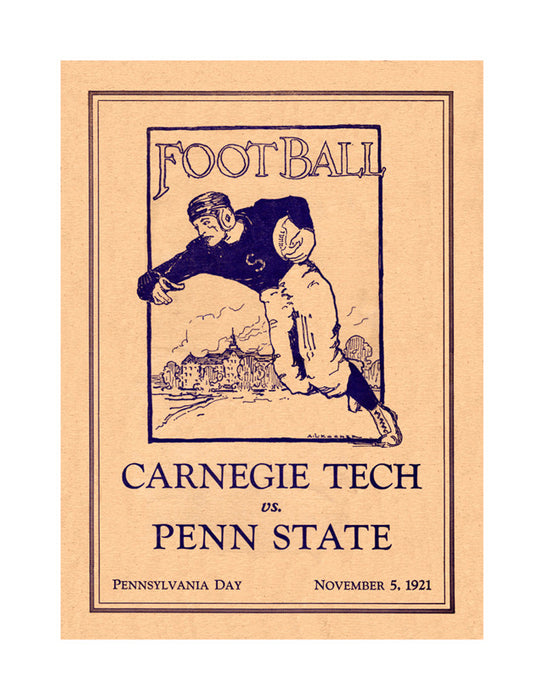 1921 Penn State Nittany Lions vs Carnegie Tech  22x30 Canvas Historic Football Poster