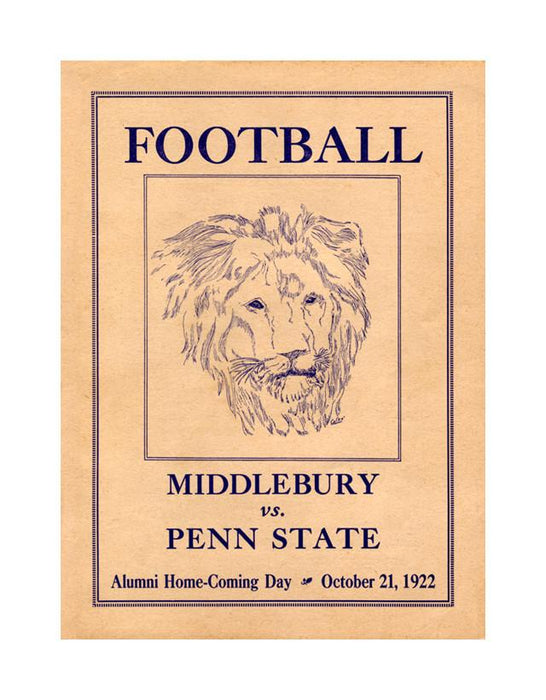 1922 Penn State Nittany Lions vs Middlebury 30x40 Canvas Historic Football Poster