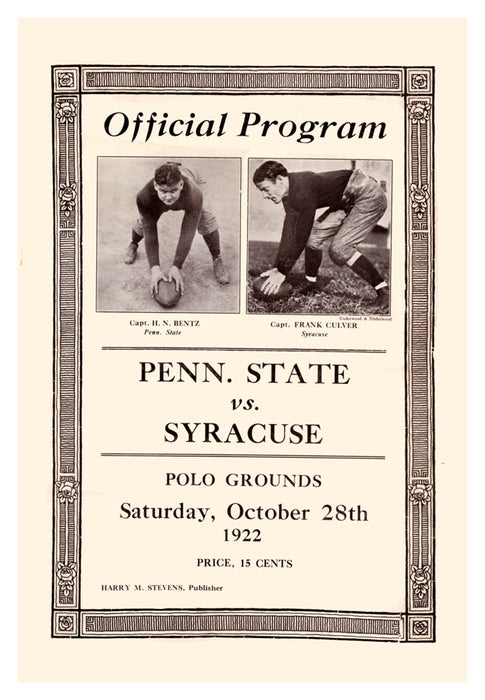 1922 Penn State Nittany Lions vs Syracuse Orange 22x30 Canvas Historic Football Print