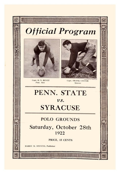 1922 Penn State Nittany Lions vs Syracuse Orange 30x40 Canvas Historic Football Print