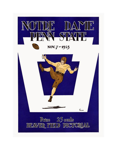 1925 Penn State Nittany Lions vs Notre Dame Fighting Irish 30x40 Canvas Historic Football Poster