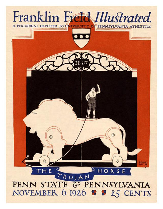 1926 Penn Quakers vs Penn State Nittany Lions 30x40 Canvas Historic Football Poster