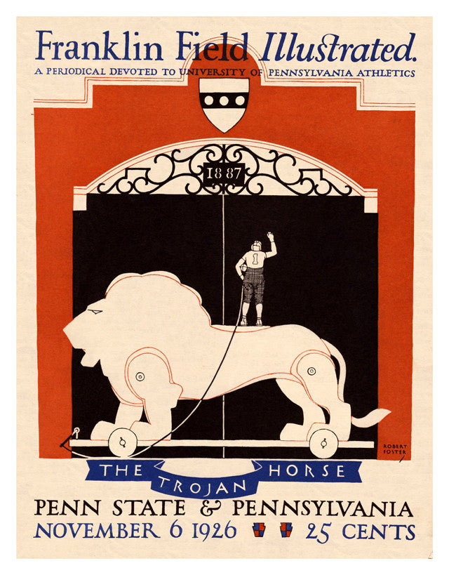 1926 Penn Quakers vs Penn State Nittany Lions 22x30 Canvas Historic Football Poster