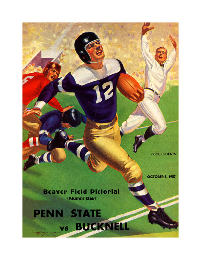 1937 Penn State Nittany Lions 22x30 Canvas Historic Football Poster