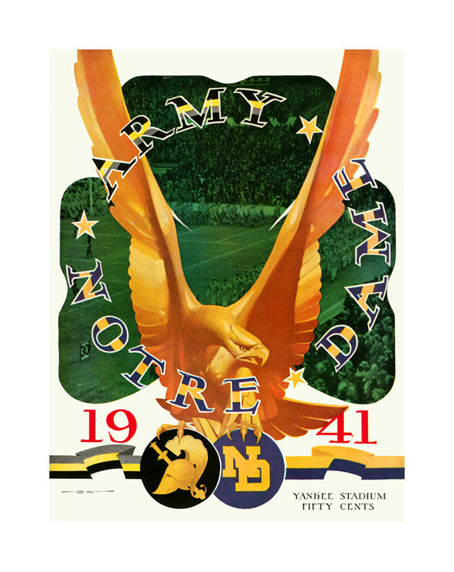 1941 Army Black Knights vs Notre Dame Fighting Irish 22x30 Canvas Historic Football Poster