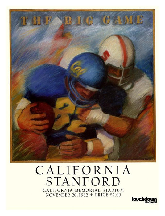 1982 California Bears vs Stanford Cardinal 30x40 Canvas Historic Football Poster