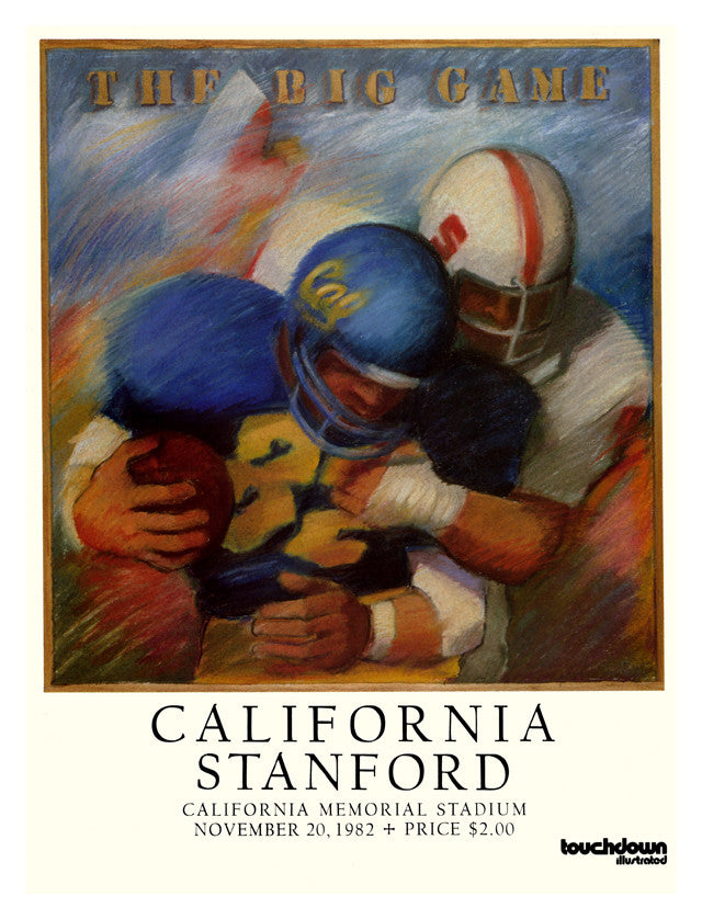 1982 California Bears vs Stanford Cardinal 22x30 Canvas Historic Football Poster