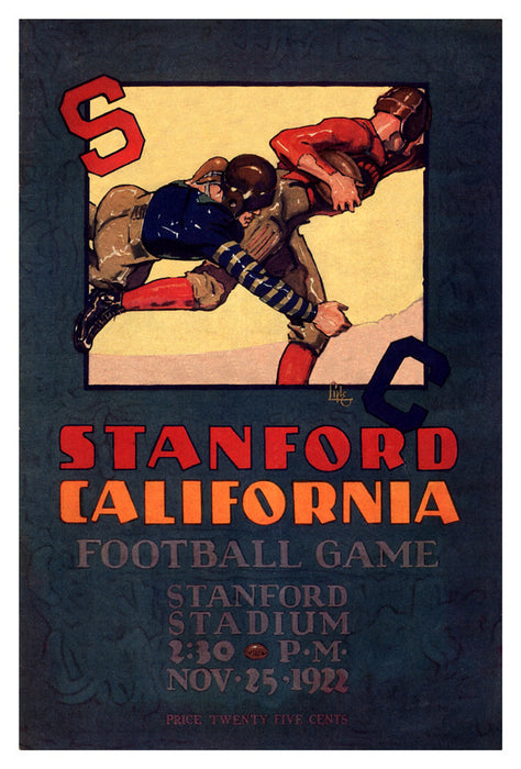 1922 Stanford Cardinal vs California Bears 22x30 Canvas Historic Football Poster