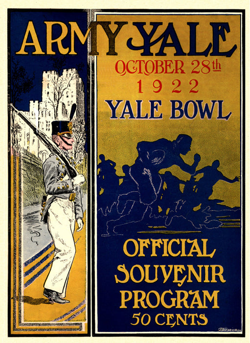 1922 Yale Bulldogs vs Army Black Knights 22x30 Canvas Historic Football Poster
