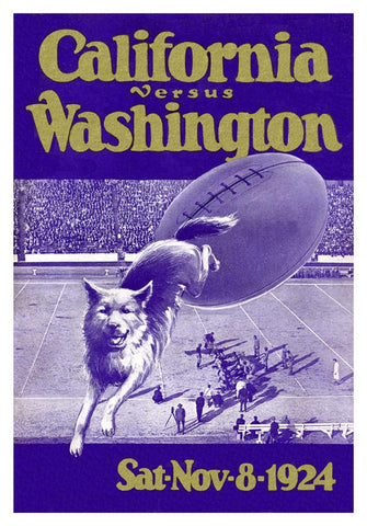 1924 Washington Huskies vs California Bears 30x40 Canvas Historic Football Print