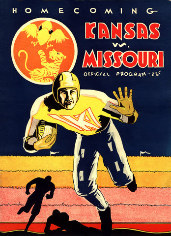 1931 Kansas Jayhawks vs Missouri Tigers 22x30 Canvas Historic Football Poster