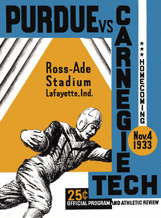 1933 Purdue Boilermakers vs Carnegie Tech 22x30 Canvas Historic Football Poster