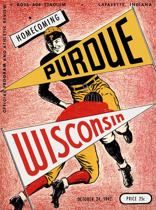 1942 Purdue Boilermakers vs Wisconsin Badgers 30x40 Canvas Historic Football Poster