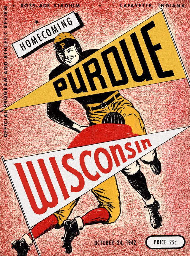 1942 Purdue Boilermakers vs Wisconsin Badgers 22x30 Canvas Historic Football Poster