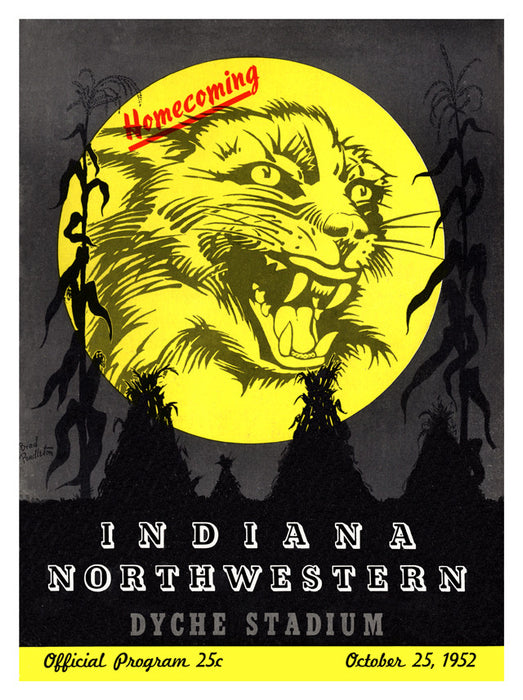 1952 Northwestern Wildcats vs Indiana Hoosiers 22x30 Canvas Historic Football Print