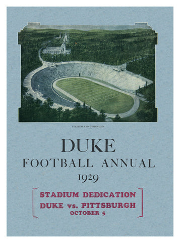 1929 Duke Blue Devils vs Pittsburgh Panthers 22x30 Canvas Historic Football Poster