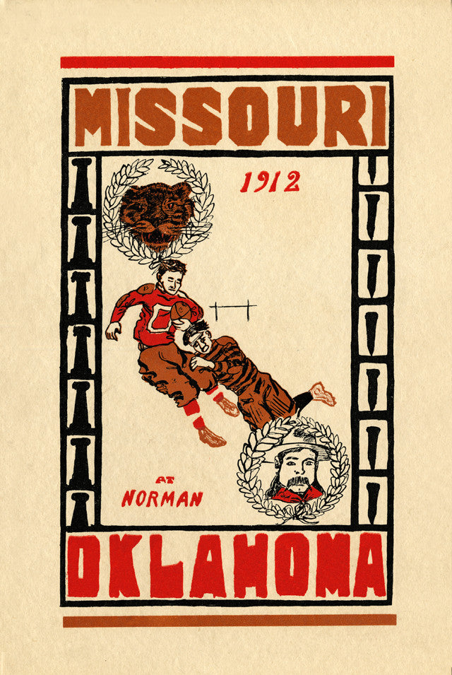 1912 Oklahoma Sooners vs Missouri Tigers 22x30 Canvas Historic Football Poster