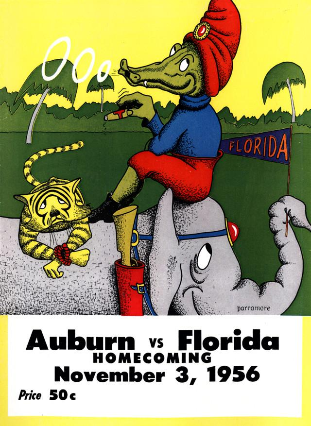1956 Florida Gators vs Auburn Tigers 30x40 Canvas Historic Football Poster