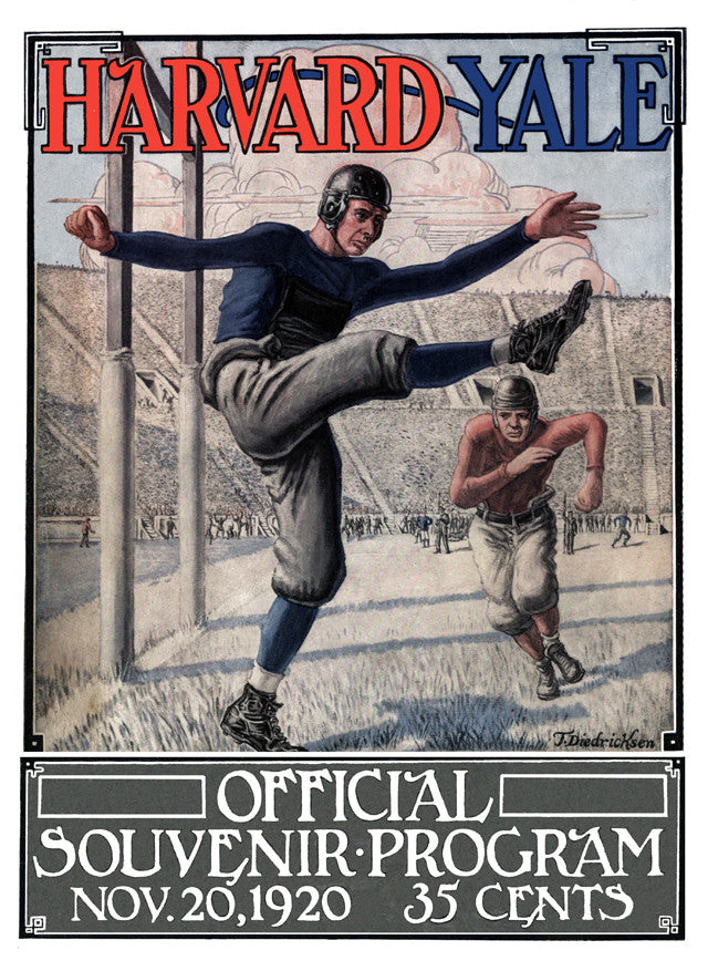 1920 Yale Bulldogs vs Harvard Crimson 22x30 Canvas Historic Football Poster