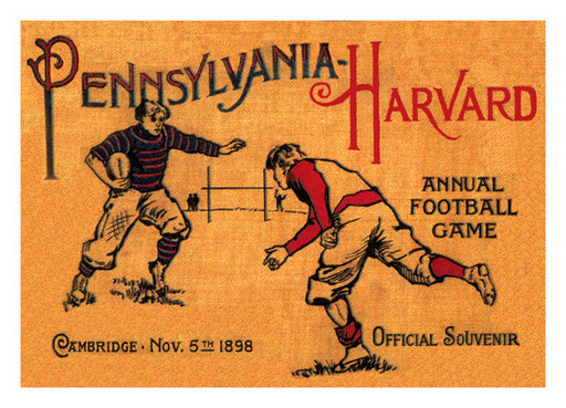 1898 Harvard Crimson vs Penn Quakers 22x30 Canvas Historic Football Poster