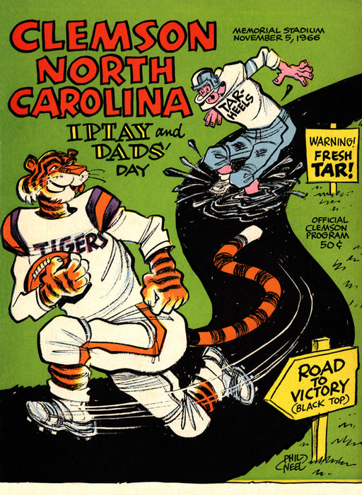 1966 Clemson Tigers vs North Carolina Tar Heels 22x30 Canvas Historic Football Poster