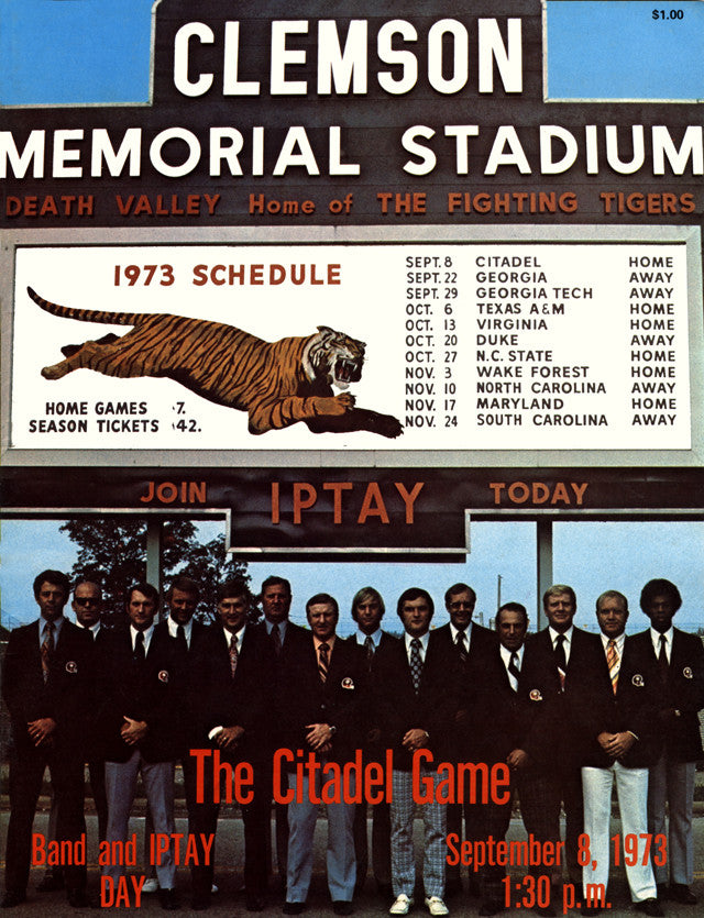 1973 Clemson Tigers vs Citadel Bulldogs 22x30 Canvas Historic Football Poster
