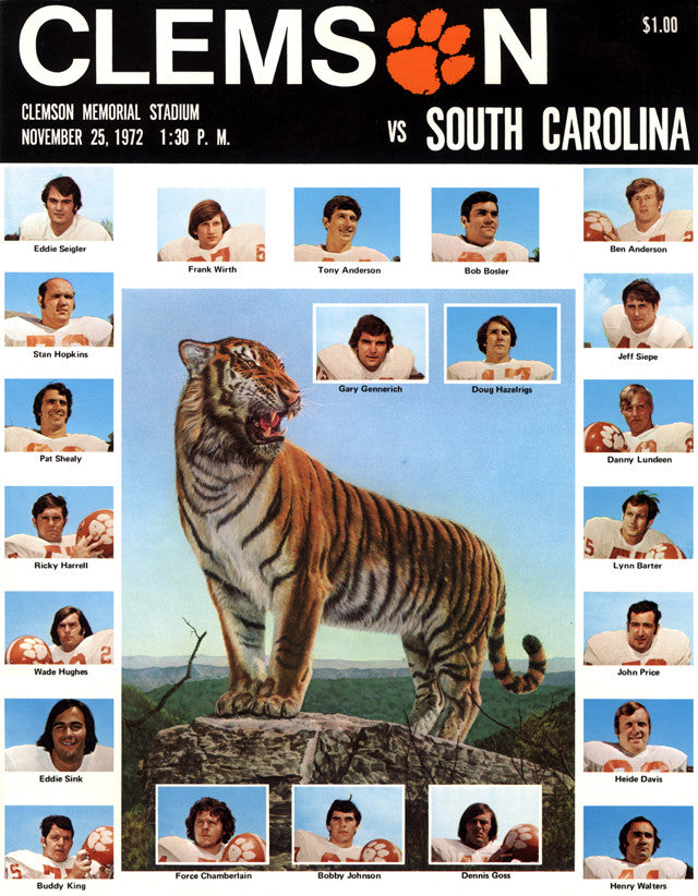 1972 Clemson Tigers vs South Carolina Gamecocks 22x30 Canvas Historic Football Poster