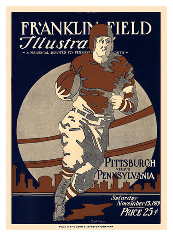 1919 Penn Quakers vs Pittsburgh Panthers 22x30 Canvas Historic Football Poster