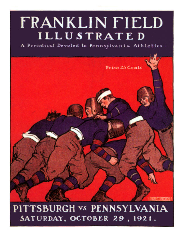 1921 Penn Quakers vs Pittsburgh Panthers 22x30 Canvas Historic Football Poster