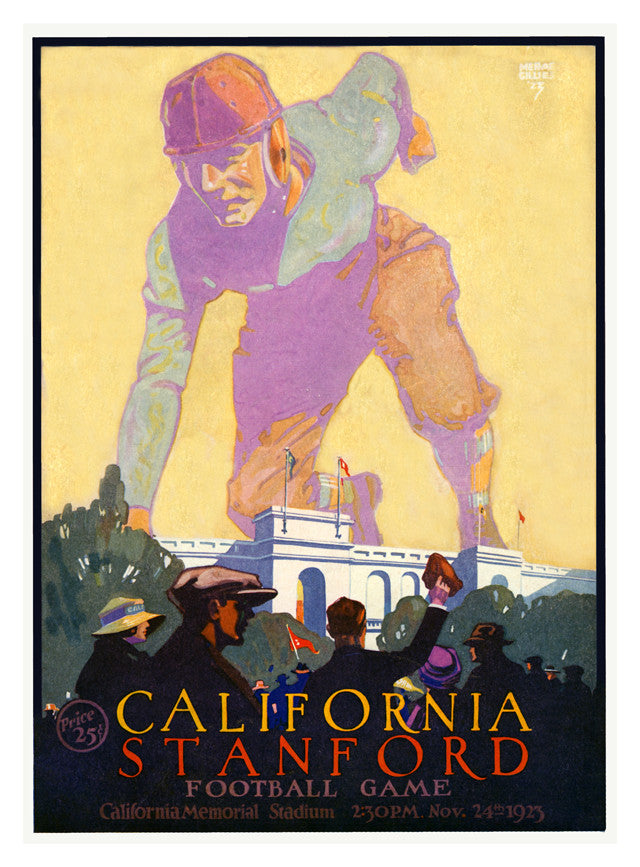 1923 California Bears vs Stanford Cardinal 22x30 Canvas Historic Football Poster