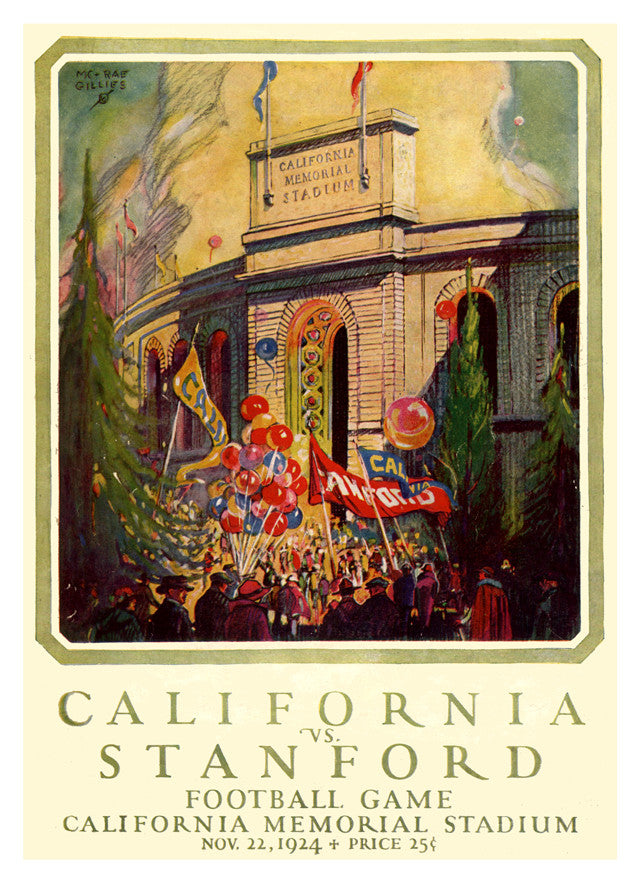 1924 California Bears vs Stanford Cardinal 22x30 Canvas Historic Football Poster
