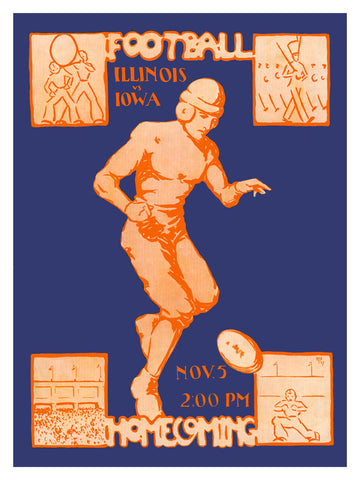 1927 Iowa Hawkeyes vs Illinois Fighting Illini 22x30 Canvas Historic Football Poster