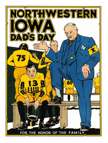 1931 Iowa Hawkeyes vs Northwestern Wildcats 30x40 Canvas Historic Football Poster