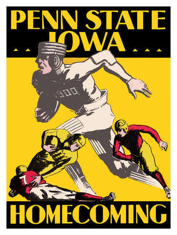 1930 Iowa Hawkeyes vs Penn State Nittany Lions 22x30 Canvas Historic Football Poster
