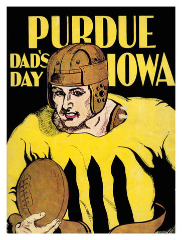 1930 Iowa Hawkeyes vs Purdue Boilermakers 30x40 Canvas Historic Football Poster