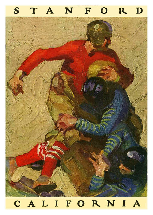 1925 Stanford Cardinal vs California Bears 22x30 Canvas Historic Football Poster