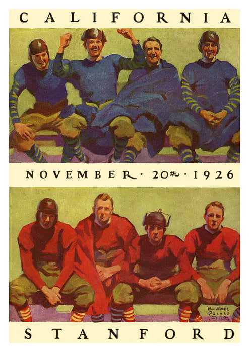 1926 California Bears vs Stanford Cardinal 22x30 Canvas Historic Football Poster