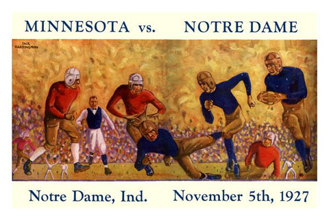 1927 Notre Dame Fighting Irish vs Minnesota Golden Gophers 30x40 Canvas Historic Football Print