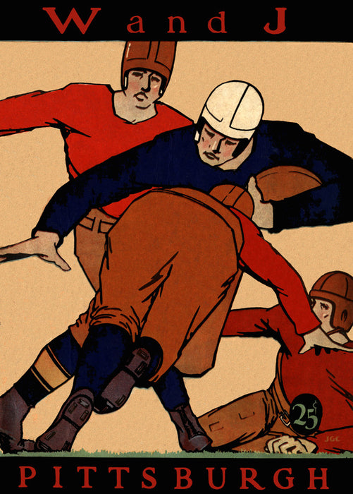 1927 Pittsburgh Panthers vs Washington & Jefferson 22x30 Canvas Historic Football Poster