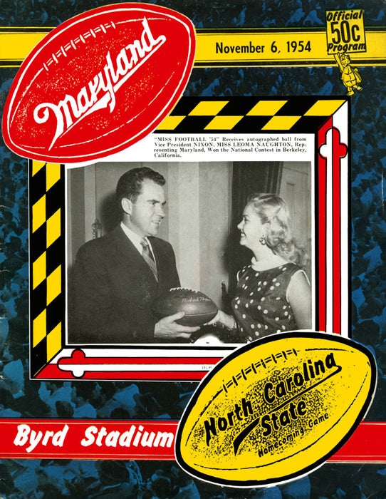 1954 Maryland Terrapins vs North Carolina State Wolfpack 22x30 Canvas Historic Football Poster