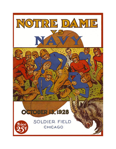 1928 Notre Dame Fighting Irish vs Navy Midshipmen 22x30 Canvas Historic Football Poster