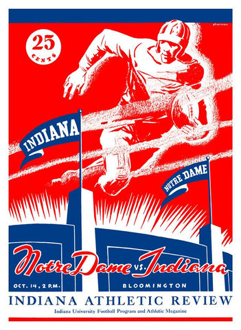 1933 Indiana Hoosiers vs Notre Dame Fighting Irish 30x40 Canvas Historic Football Print
