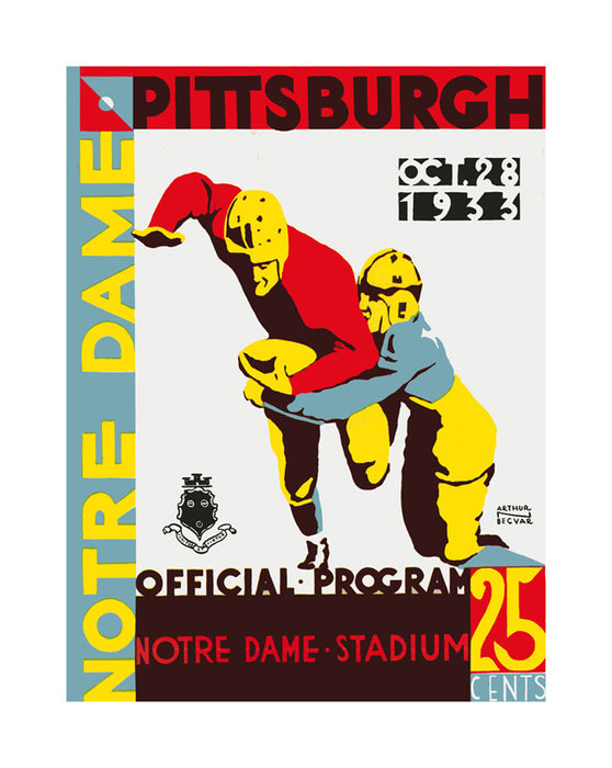 1933 Notre Dame Fighting Irish vs Pittsburgh Panthers 22x30 Canvas Historic Football Poster