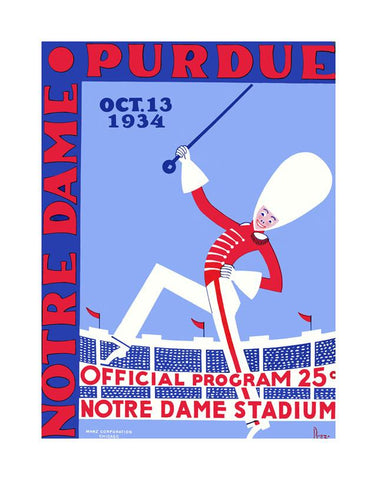 1934 Notre Dame Fighting Irish vs Purdue Boilermakers 30x40 Canvas Historic Football Poster